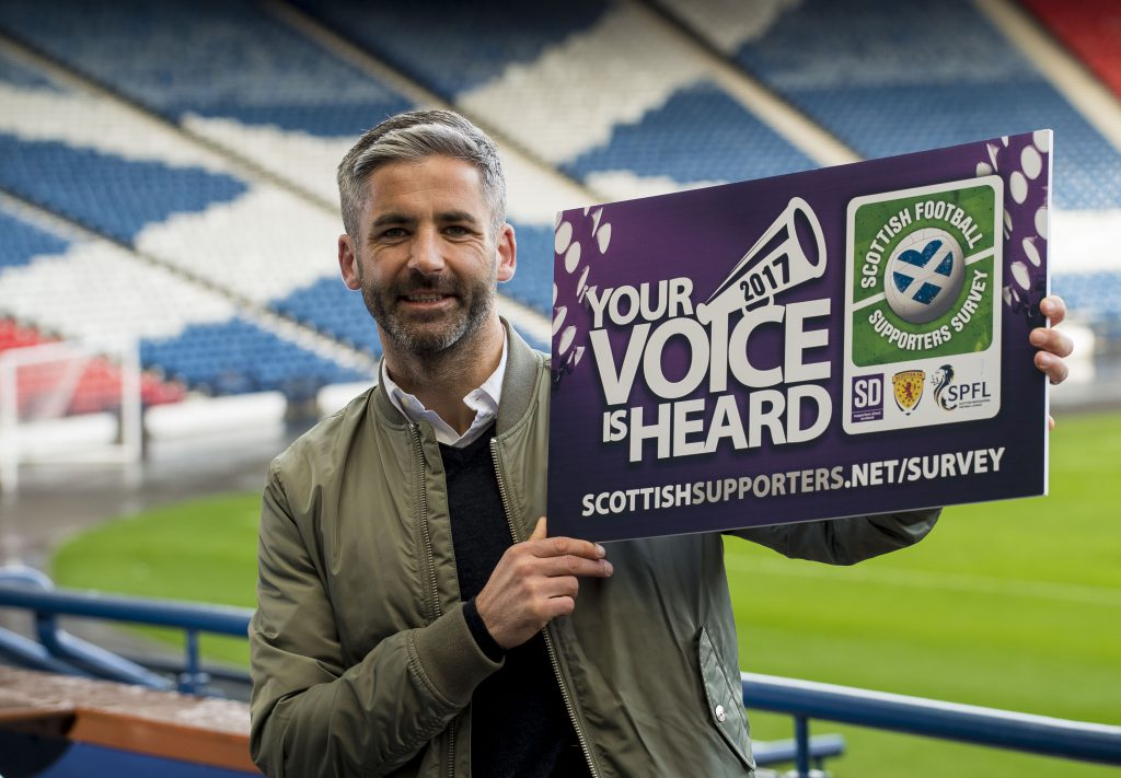 ************ FREE IMAGES ******************** 19/03/17 Hampden Park - Glasgow Motherwell Captain Keith Lasley helps launch Supporters Direct Scotland annual Scottish football supporters survey for 2017 in partnership with SPFL and SFA Photo credit should read: © Craig Watson Craig Watson, craigwatsonpix@icloud.com 07479748060 www.craigwatson.co.uk